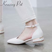 Summer Sandals Women Shoes Buckle-Straps Heel Low-Heels-Cover Square Toe Genuine-Leather