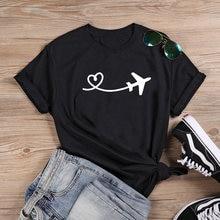 T-shirt à manches courtes en coton pour Femme, ample et humoristique, Mode avion, été