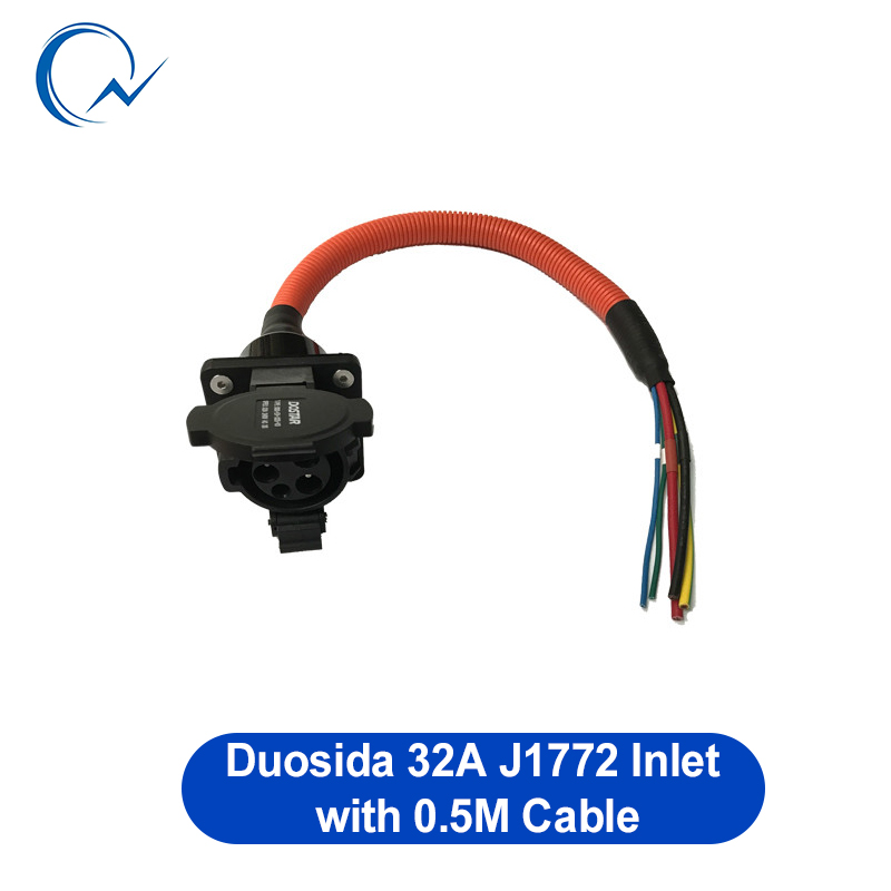 32A SAE J1772 AC Inlet/socket/connector With 0.5m UL/TUV Cable Level 2 Inlet For EV/Electric Car Charging Duosida In Stock
