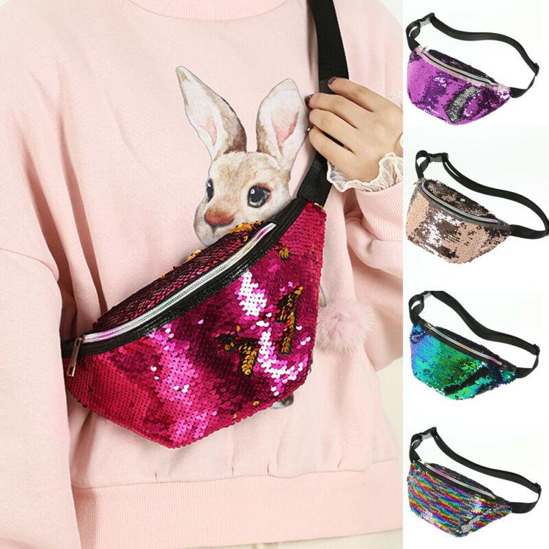 Women Travel Waist Fanny Pack Holiday Money Belt Wallet Glitter Bum Bag Pouch Fashion Sequins Adjustable Crossbody Shoulder Bags