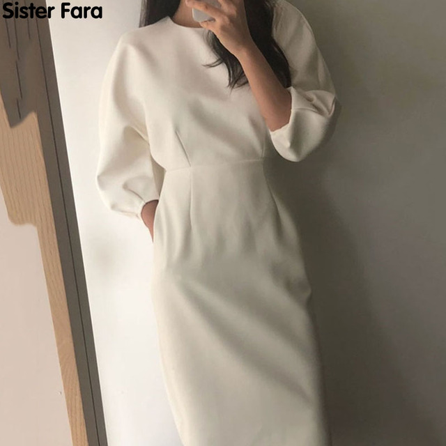 Sister Fara New Spring Elegant O-Neck Dress Ladies Office Fashion Sexy Solid Dress Women Autumn Slim Midi Dress Vestidos OL 2021 1