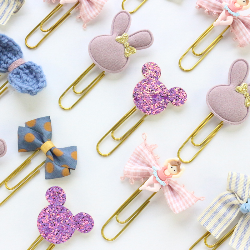 Domikee New Cute Korean Office School Metal Paper Clips Candy Kawaii Student Handmade Index Bookmark Stationery Supplies