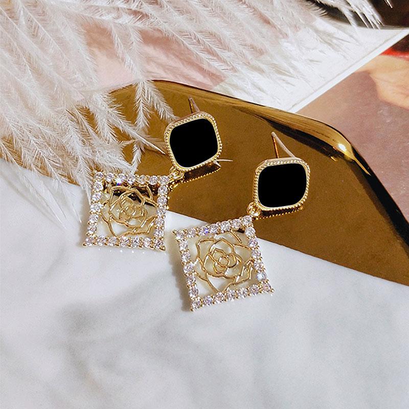 POXAM Elegant Crystal Earrings Korean Statement Rhinestone Drop Earrings for Women 2020 Geometric Fashion Female Earings Jewelry
