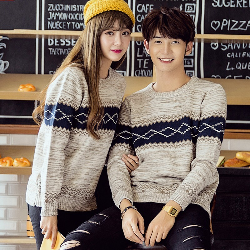 Fashion Slim O-Neck Long Sleeve Jumper Couple Chic Plaid Pullover Knitting Sweater Men Unisex Warm Blouse Coat Pull Homme S-3XL