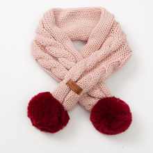 2019 NEW autumn and winter warm and comfortable solid color scarf boys girls universal raccoon fur pom-pom kids Scarves girls pom pom solid jumpsuit