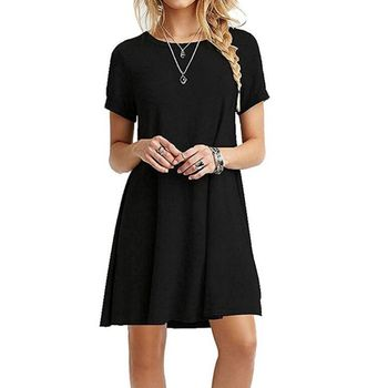 Womens Summer Plus Size T-Shirt Dress Short Sleeves Midi Swing  Plain Solid Color Crew Neck Casual Loose Pullover Tunic Tops brown v neck long sleeves loose plunge t shirt dress