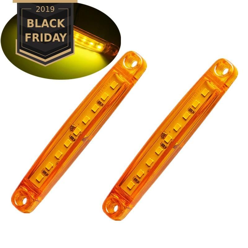 2PCS 24V Truck Lamp Yellow Lens Amber Truck Side Marker Clearance Light Strip 9SMD LED