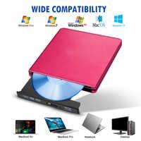 USB 3.0 External BD/CD/DVD Writer Drive Burner Chrome For Mac/Windows 10/Laptop/PC Optical Drive Player Writer