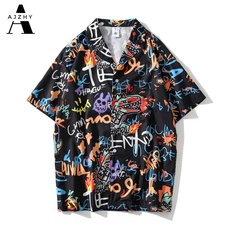 Streetwear Men Hip Hop Short Sleeve Shirts 2020 Summer Beach Graffiti Anime Full Print Shirts Women Harajuku Fashion Top Clothes