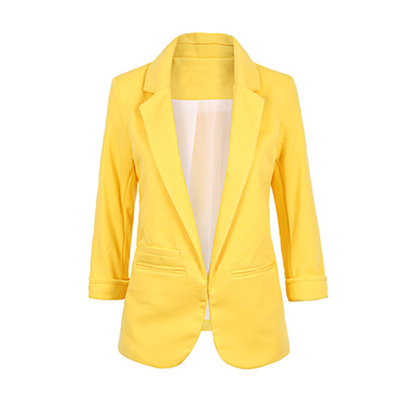 Casual Slim Suit Blazer Coat Jacket Outwear Women Candy Color No Buckle JL