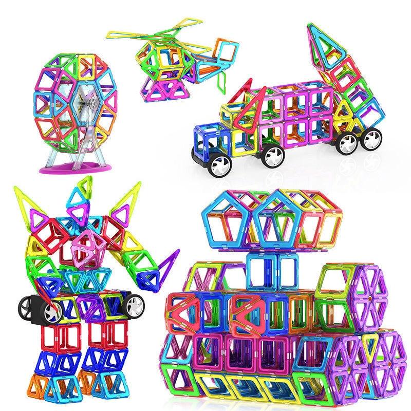 30/46 adet büyük boy manyetik tasarımcı mıknatıs yapı taşları 2 tekerlekli aksesuarları eğitici kurucu oyuncaklar