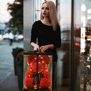 Dropshiping 40cm Bär von Rosen mit LED Geschenk Box Teddybär Rose Seife Schaum Blume Künstliche Neue Jahr Geschenke für Frauen Valentines
