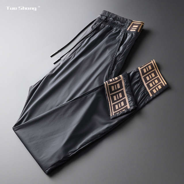 2019 Mens Luxury Jogger Pants New Brand Drawstring Sports Pant Men Stitching Thin Section Ribbon Personality Casual Trousers 14