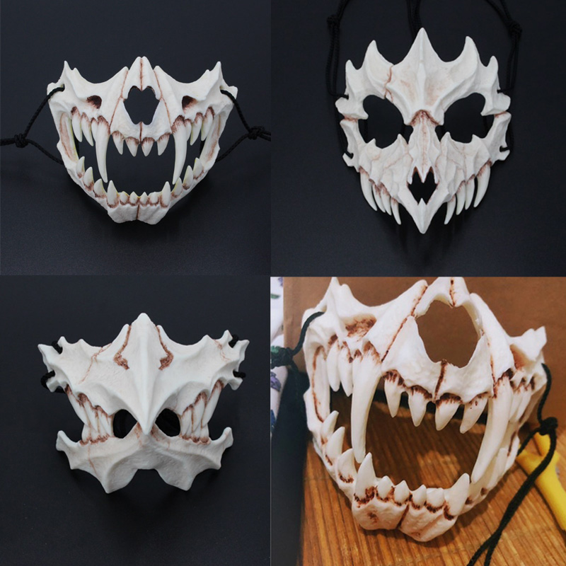 5 Style Japanese Dragon God Mask Eco-friendly Cosplay Props Unisex Halloween Animal Tiger Natural Resin Masks