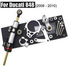 Per Ducati 848 stabilizzatore ammortizzatore di sterzo CNC con Set di staffe Kit di controllo di sicurezza 2008-2010 accessori per parti di moto anodizzato