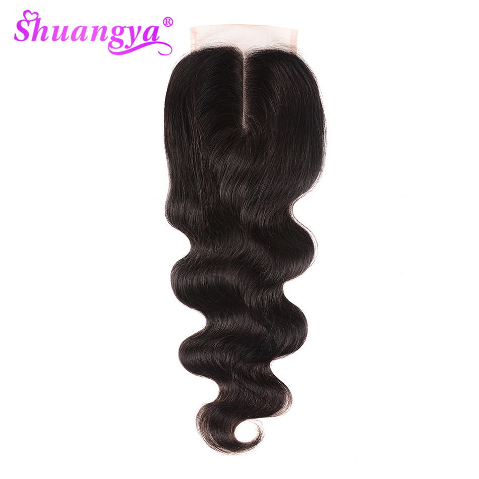 Где купить Shuangya волосы бразильские объемные волнистые закрытие 4x 4/5x5 кружевное закрытие Remy человеческие волосы закрытие свободный/средний/три части могут быть настроены