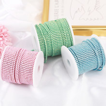SS6 2mm 1 yard Pink /Green/Blue Opal Glass Rhinestone Cup Chain Glitter Crystal Rhinestone Trim For DIY Wedding Dress Decoration