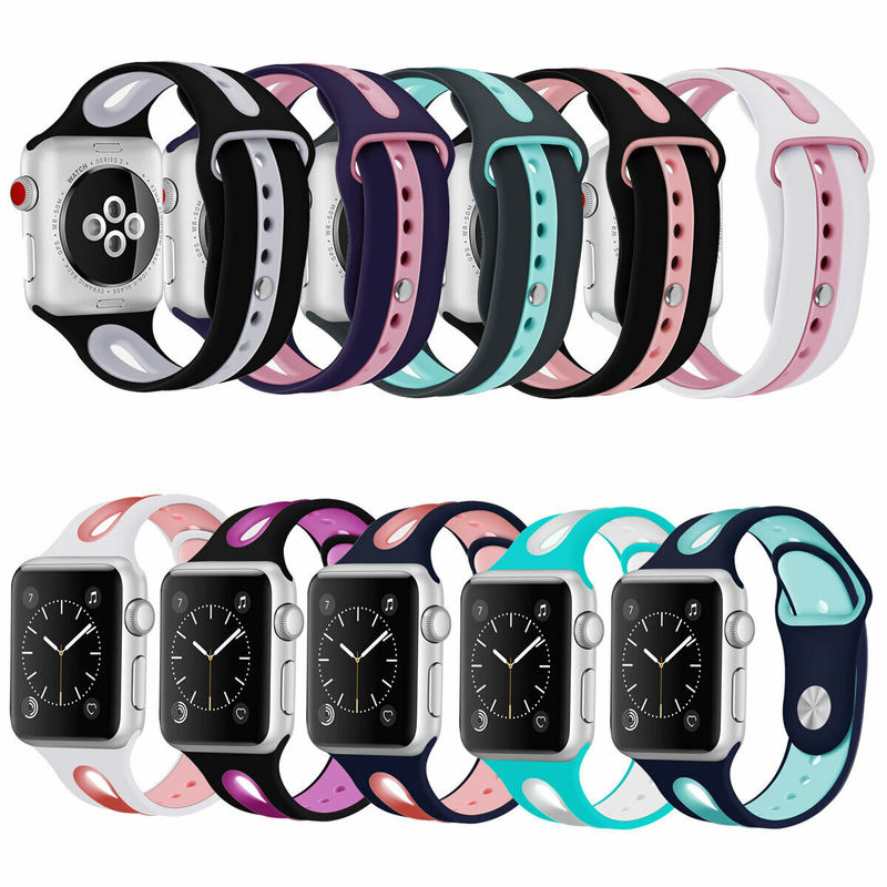 Sports Strap for <font><b>Apple</b></font> <font><b>Watch</b></font> Band <font><b>42mm</b></font> 38mm 44mm 40mm <font><b>Pulseira</b></font> Silicone Watchband Bracelet for Iwatch 5 4 3 <font><b>2</b></font> 1 Correa Wristband image