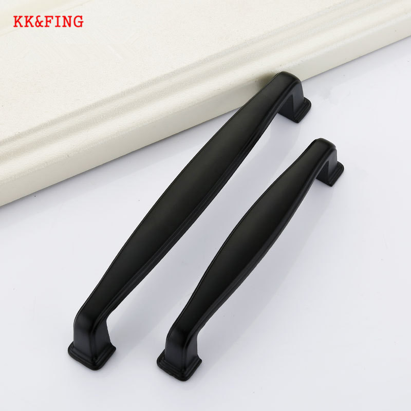 KK&FING 1pcs Modern Aluminum Alloy Black Cabinet Handles Kitchen Cupboard Door Pulls Drawer Knobs Fashion Furniture Hardware