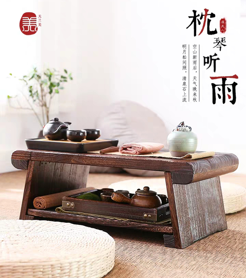 Mesa de centro de madera maciza rectangular moderna y creativa mesa de centro plegable mesa de centro de madera maciza - 3
