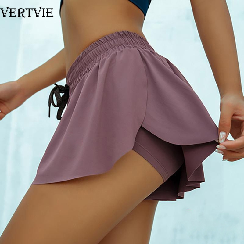 VERTVIE Butt Scrunch Skirted Yoga Shorts Running Cycling Biker Shorts Women 2 In 1 Marathon Quick Dry Shorts Gym Sport Shorts
