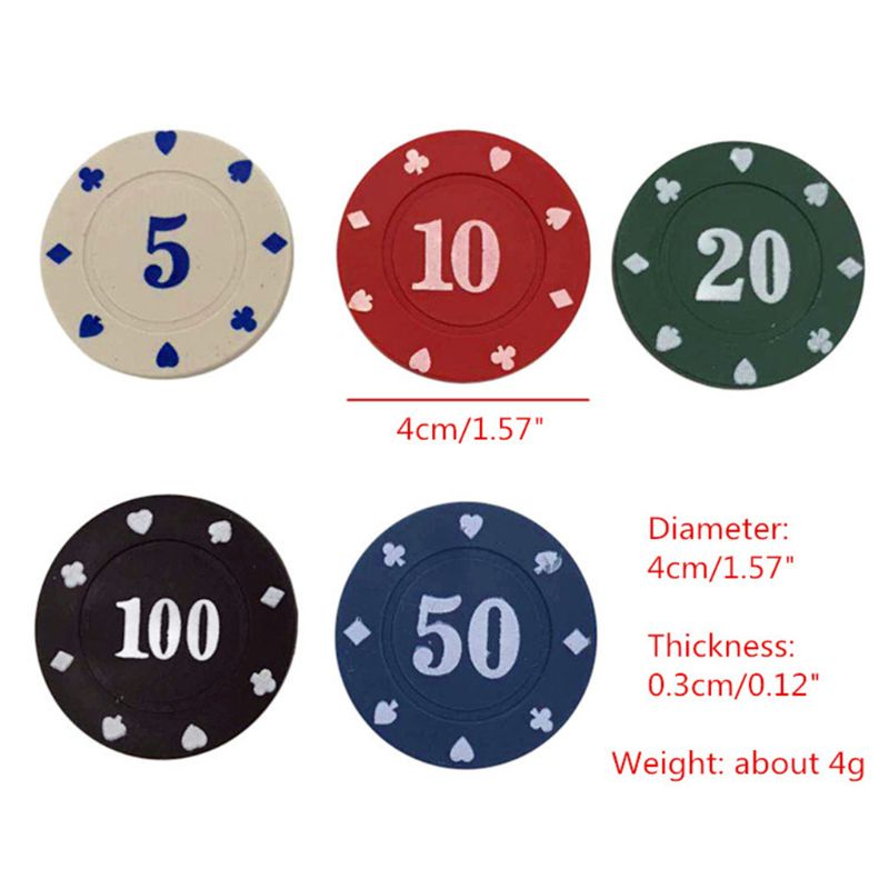100pcs Round Plastic Chips Casino Poker Card Game Baccarat Counting Accessories-1