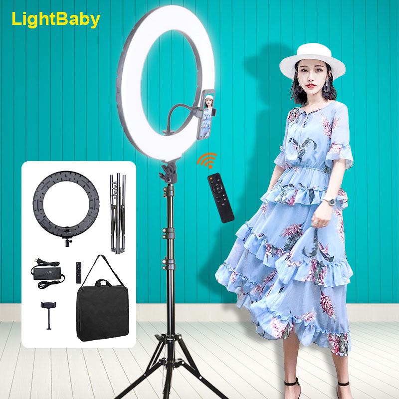 18Inch Big Selfie Ring Light 3200-5600k Photography Dimmable Ring Lamp with Tripod for Photo Youtube makeup ringlight image