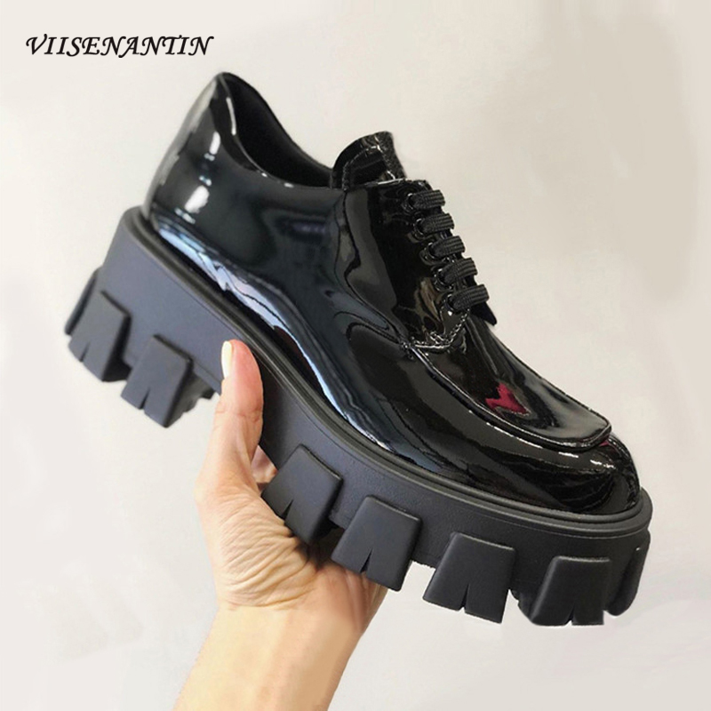 VIISENANTIN 2020 Spring Women Single Shoe Patent Leather Thick Bottom Handsome Shoe Casual Comfortable Lace Up Platform Shoes