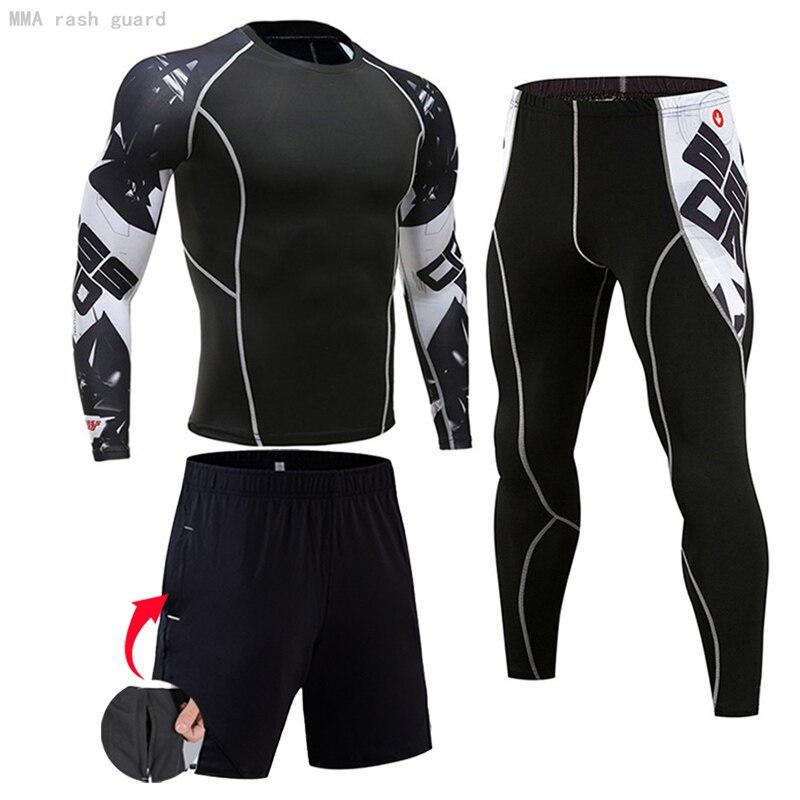 Ropa deportiva para correr para hombre, ropa de entrenamiento físico atlético, trajes deportivos para entrenamiento, Jogging, Rashguard, Kit para hombre|Conjuntos para running| - AliExpress