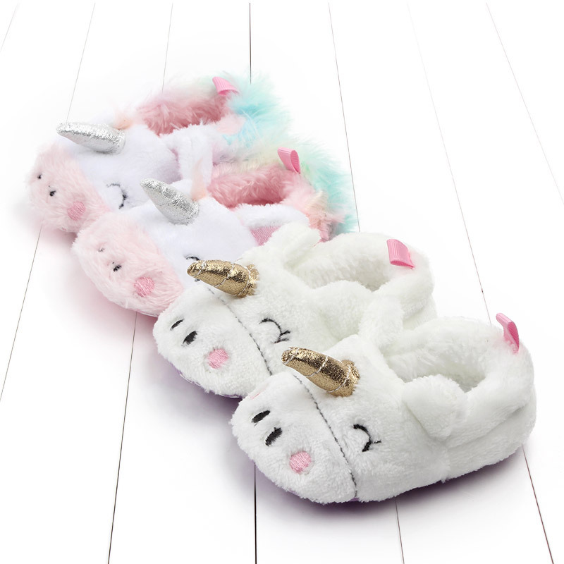 2019 New Toddler Baby Girl Flowers Unicorn Shoes Plush PU Shoes Soft Bottom Crib Shoes Spring And Autumn First Step 0-18M