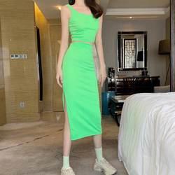 2019 Новый Модный женский комплект из 2 предметов, сексуальный короткий узкий топ, юбка с разрезом сбоку, Женские однотонные Летние