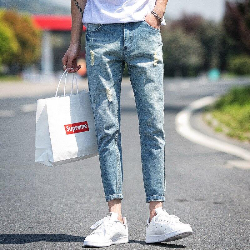 2018 Autumn & Winter New Style Japanese-style Large Size MEN'S Jeans Men's Korean-style Skinny Pants Capri Pants Students Long P