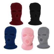 Winter Knit Ski  3-Hole Balaclava Knit Knitted Full Face Ski Cover  Beanie Hat Adults Warm Outdoor Face Cover Sports