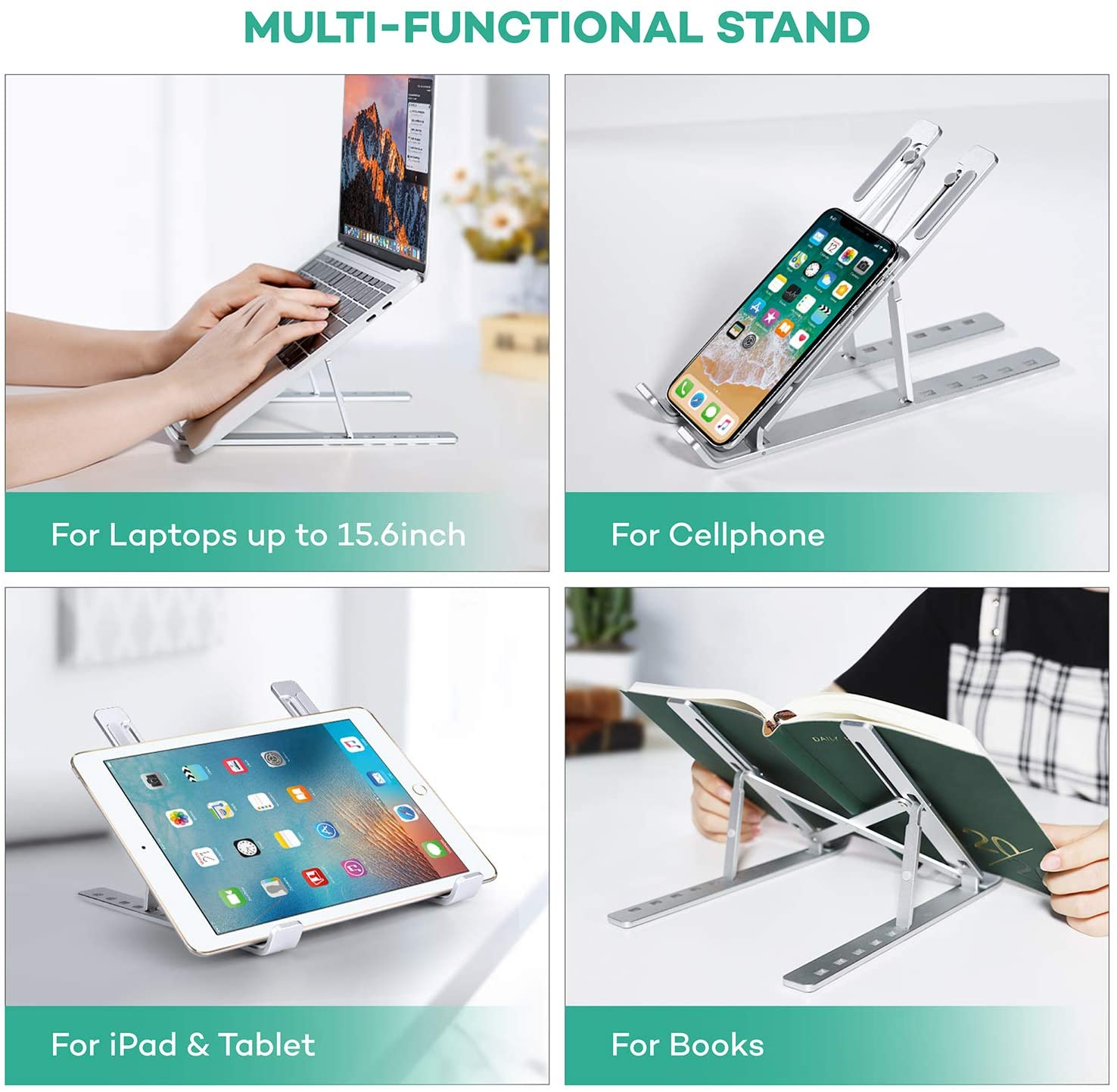 Laptop Stand Portable 6 Heights Adjustable Aluminum Desktop Ventilated Cooling Holder Folding Ultra for MacBook up to 15.6 inch