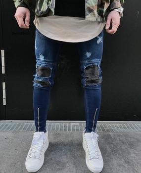 Newest Arrivals Fashion Men's Washed Ripped Destroyed Jeans Straight Vintage Frayed Denim Zipper Street Biker Pants knee holes frayed zipper fly narrow feet ripped jeans
