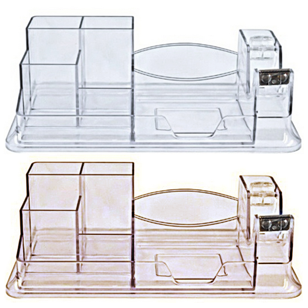 Multi-functional Home Office School Desk Supplies Pen Pencil Storage Organizer Holder Stand With 7 Compartment 1 Tape Dispenser