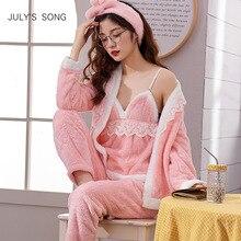 JULYS SONG kobiety piżamy ustawia 4 Peices flanelowa różowa gruba ciepła piżama kobieta jesień zima Sling koronki Sexy Homewear moda