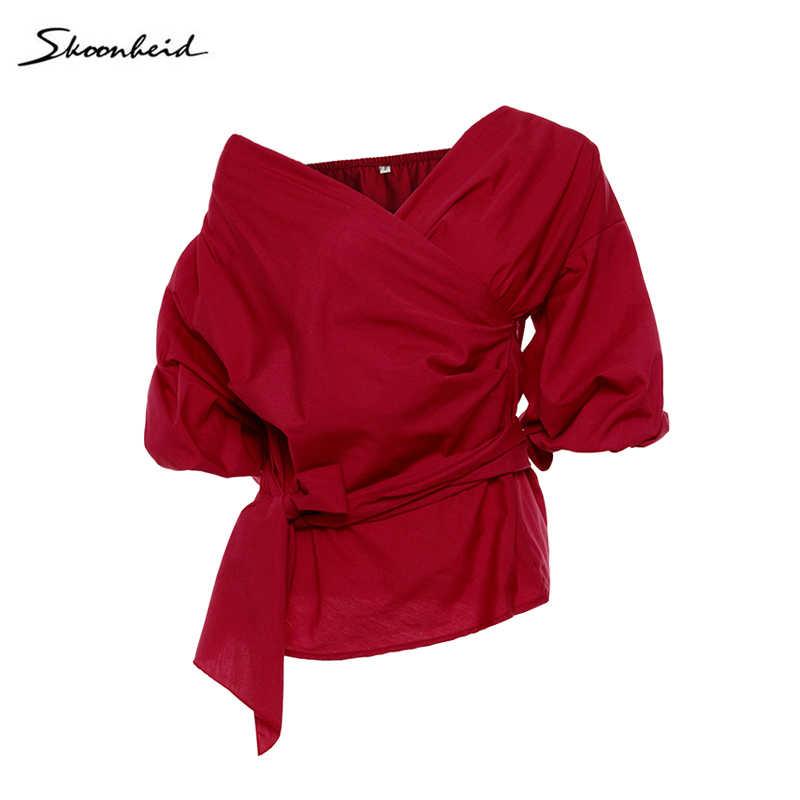 新セクシーなストラップレス V オフショルダージャケットレディースシャツ襟クロスストラップ女性ブラウスボディ Feminino クロップトップ