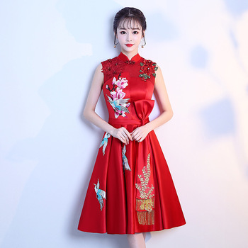 New Prom Dresses 2020 Red Embroidery Appliques Pattern A Line Formal Dress Knee-Length Elegant Party Gowns Women Vestido K184