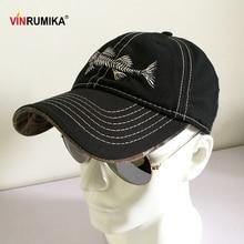 2020 Unisex Casual Fish Pattern High Quality Baseball Hat Men's 100% Pure Cotton Black Color Basebal