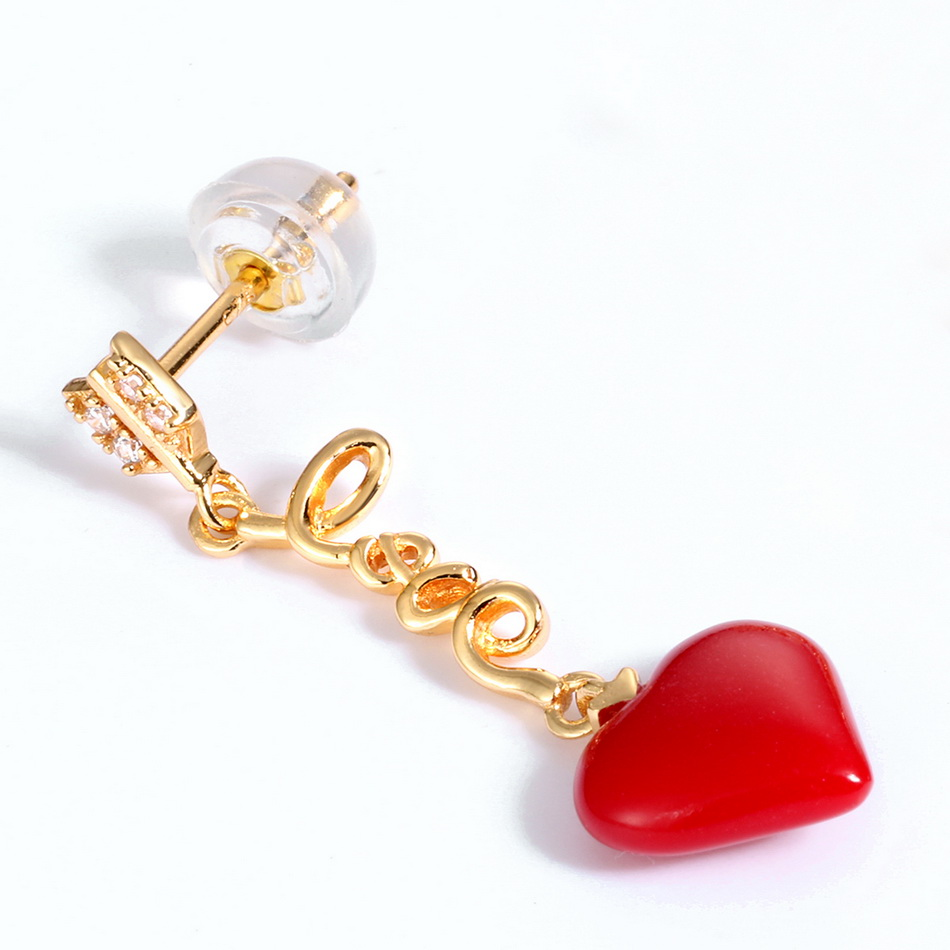 ALLNOEL Real 925 Sterling Silver 9K Gold synthetic coral Heart Pendant Earrings  Jewelry Gift For Women Fine Jewelry 2019 NEW (6)