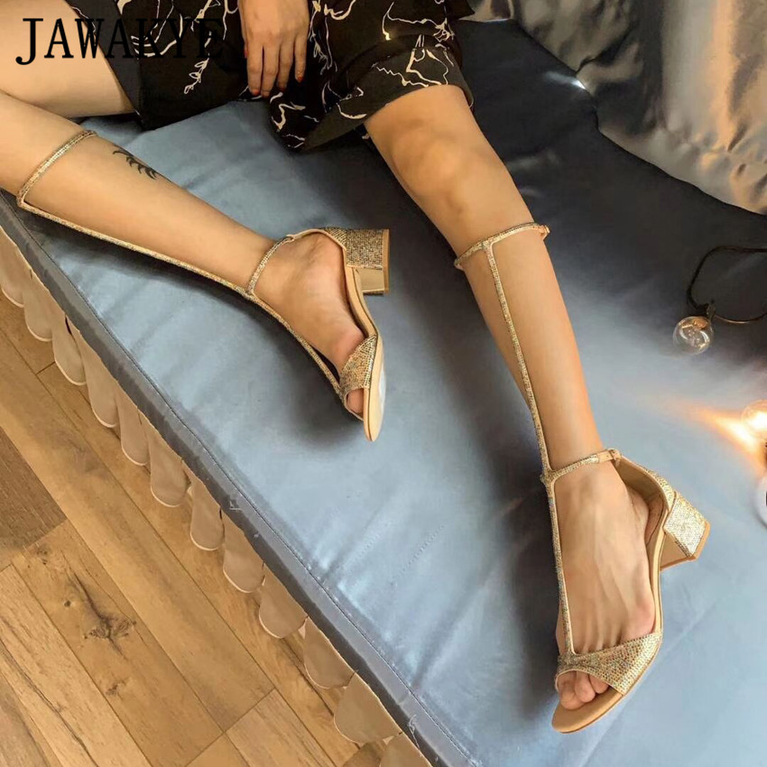 Летние блестящие сандалии с кристаллами; женская обувь до колена с Т образным ремешком; пикантные женские сандалии гладиаторы на высоком ка... - 2