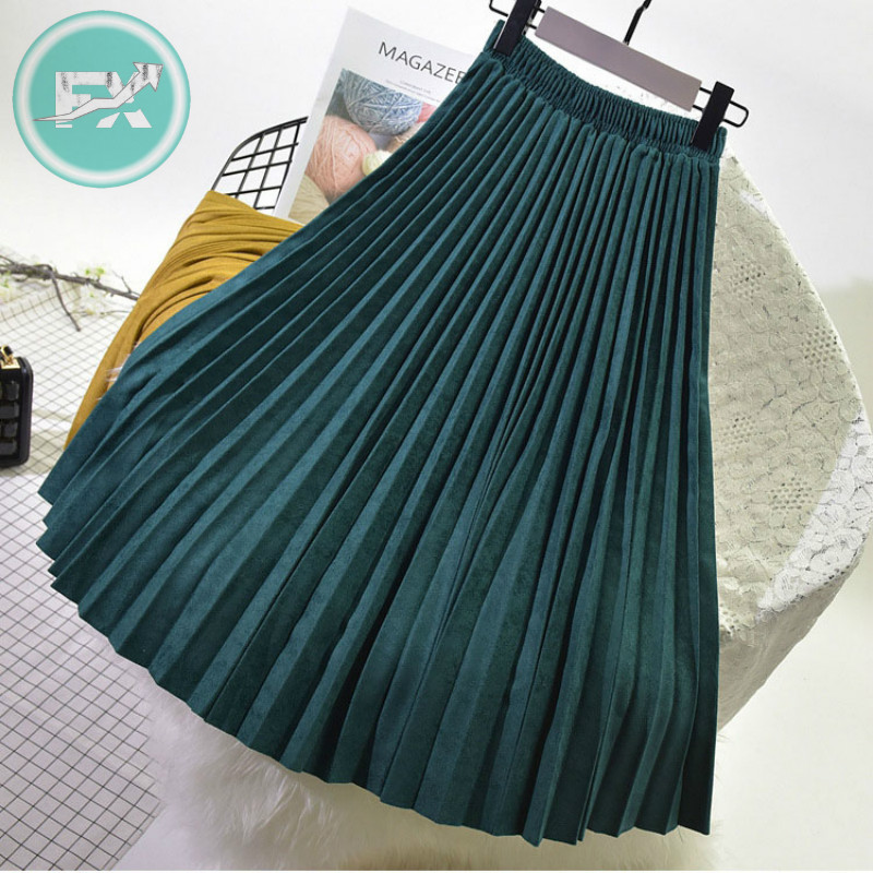 G.SKY 2020 Two Layer Spring Women Suede Skirt Long Pleated Skirts Top Brand Womens Saias Midi Faldas Vintage Women Midi Skirt