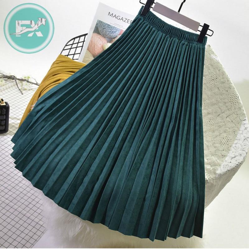 G.SKY 2020 Two Layer Spring Women Suede Skirt Long Pleated Skirts Top Brand Womens Saias Midi Faldas Vintage Women Midi Skirt