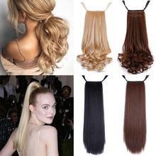 Манвэй 22 дюйма длинные волнистые прямые накладные волосы на заколках в хвосте накладные волосы конский хвост шиньон с заколками для Волос обертывание синтетический конский хвост накладные волосы