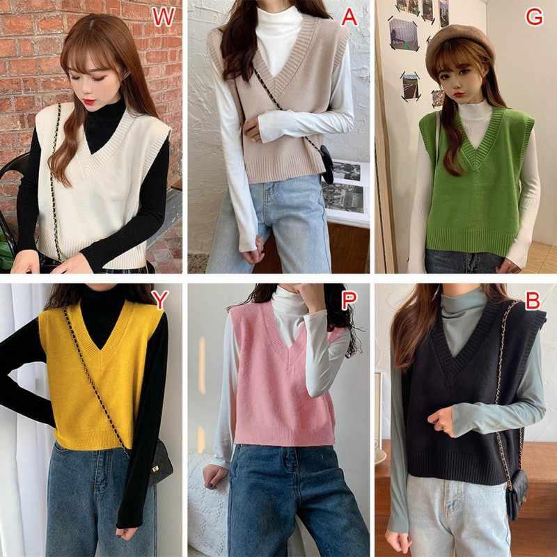 Vrouwen Mode Effen Kleur V-hals Knit Vest Losse Toevallige Mouwloze Trui Uitloper