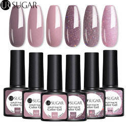 UR SUGAR 4/6Pcs Gel Nail Polish Set Color UV Gel Varnish Glitter Sequins Gel Semi Permanent 7.5ml Soak Off UV LED Gel Lacquers