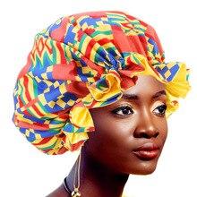 12pcs/lot Women Extra large Satin Lined Bonnets African Pattern Print Fabric Hair Loss Cap Ankara Bonnet Night Sleep Hat Turban