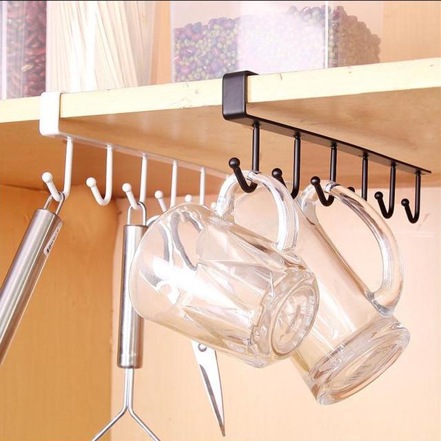6 Hooks Kitchen Cupboard Hanging Rack Stuck In Board Hanger Organizer Shelf Hook Metal Storage Multi Function
