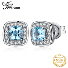 JPalace Cushion Genuine Sky Blue Topaz Stud Earrings 925 Sterling Silver For Women Korean Earings Fashion Jewelry 2020